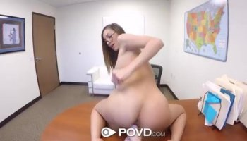 Asian brunette fucked from the back doggystyle so