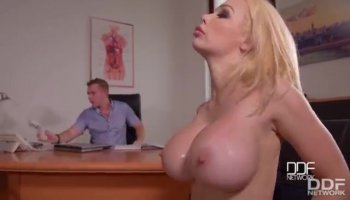 Horny blonde getting a massage